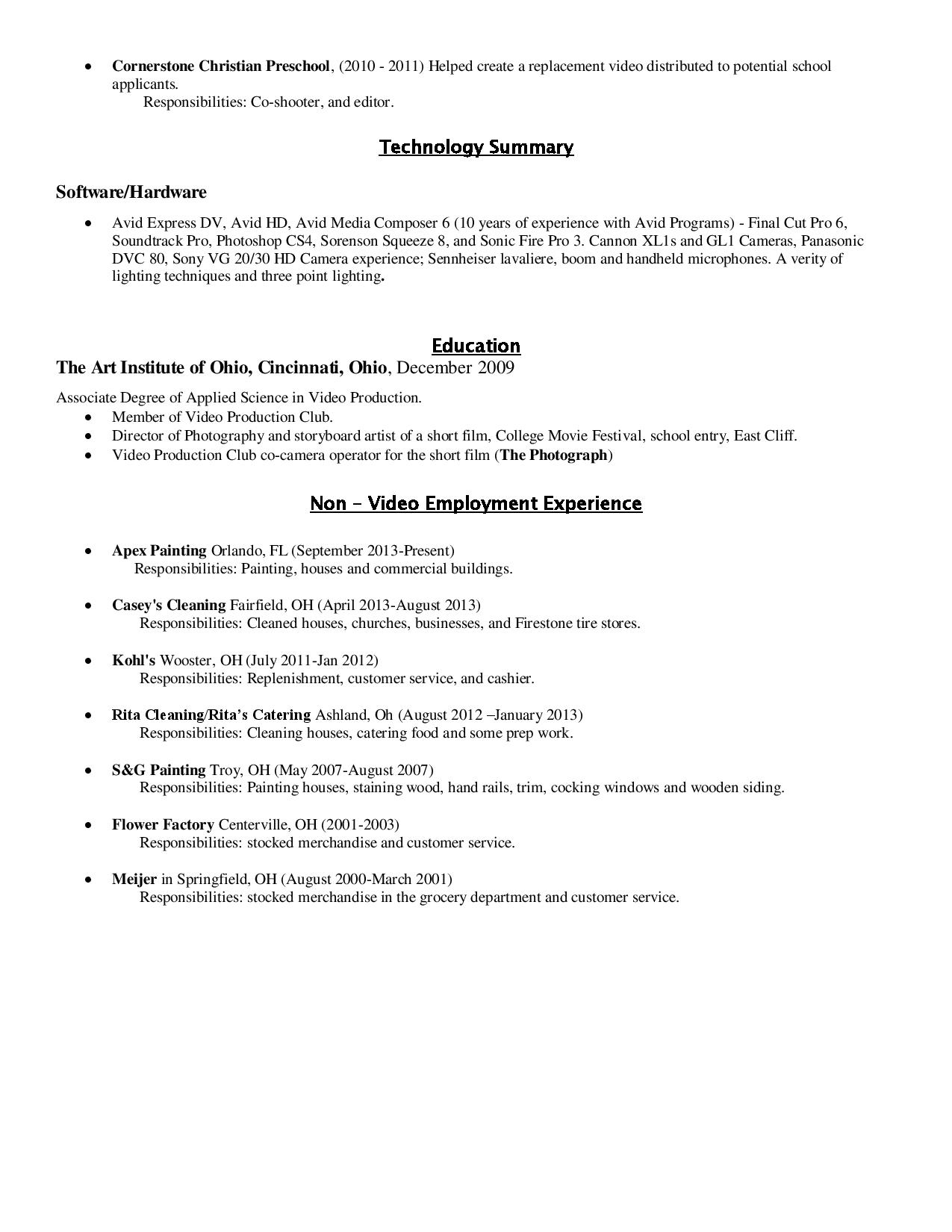 resume mccall productions resume